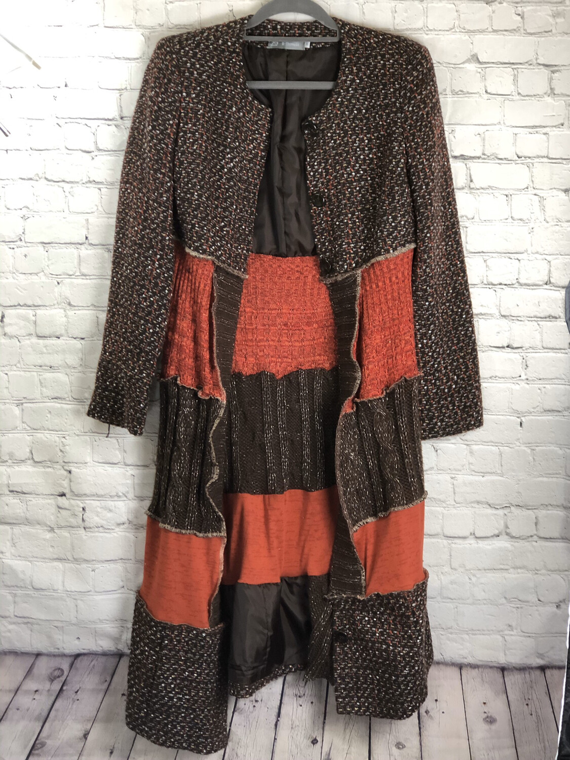 Jayer Aka Jacket With Layers In Brown, Orange