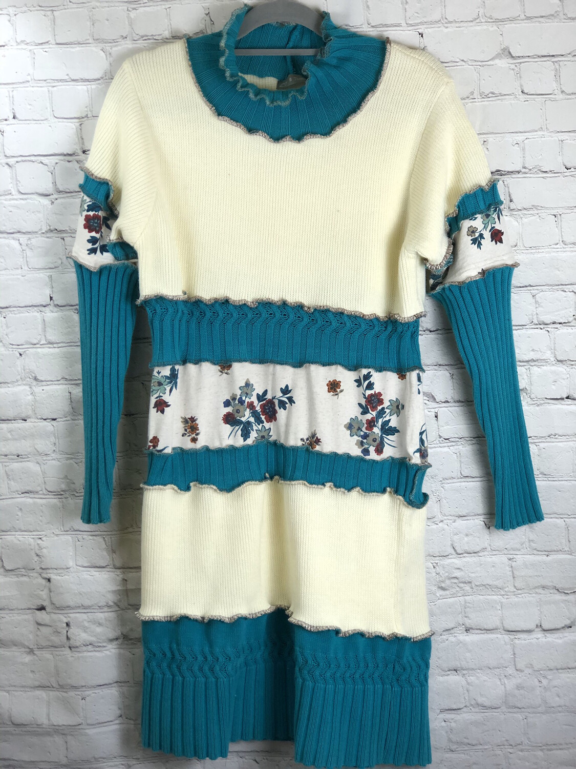 Cream Teal Floral Layered Sweater Dress