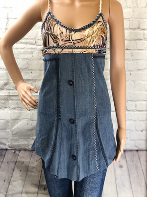 Blue Jean Braided Upcycled Top