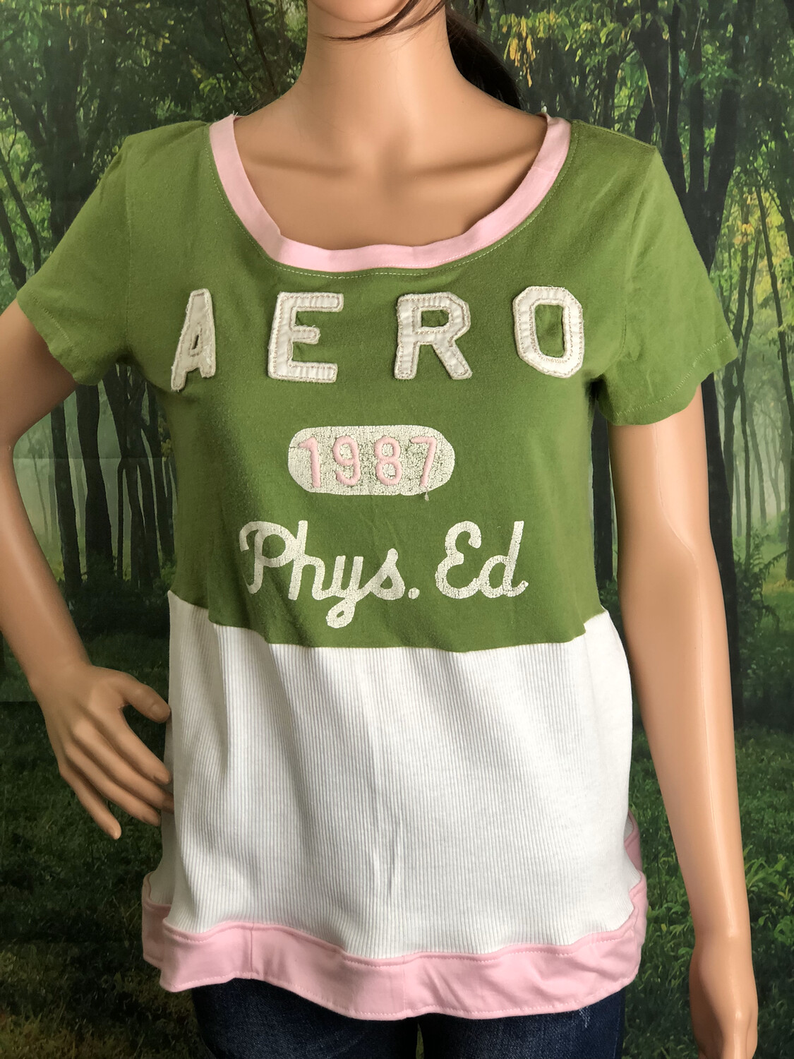 Aero Green White Pink Top