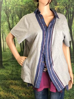 Unisex Upcycled Short Sleeve Sweat Jacket W Buttons