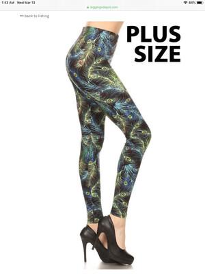 Leggings Peacock Print Plus Size