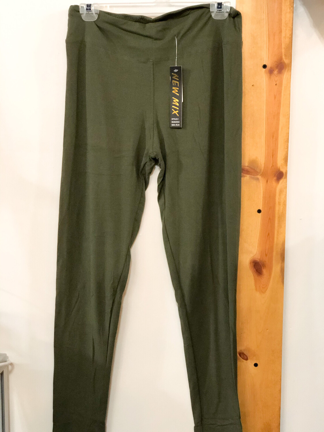 Leggings Olive Green Solid Plus Size