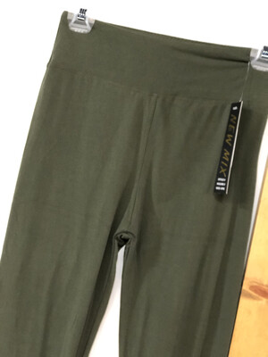 Leggings Olive Green Solid Color One Size