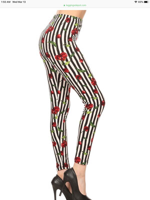Leggings Striped Cherry Print One Size