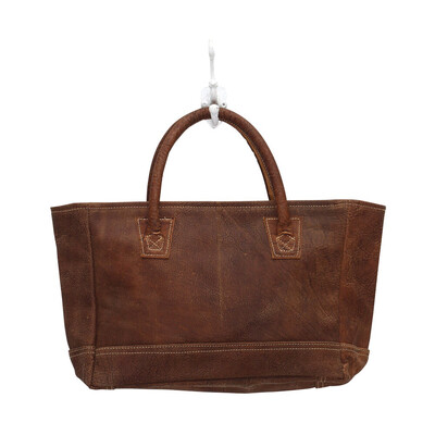 White Stitched Leather Bag