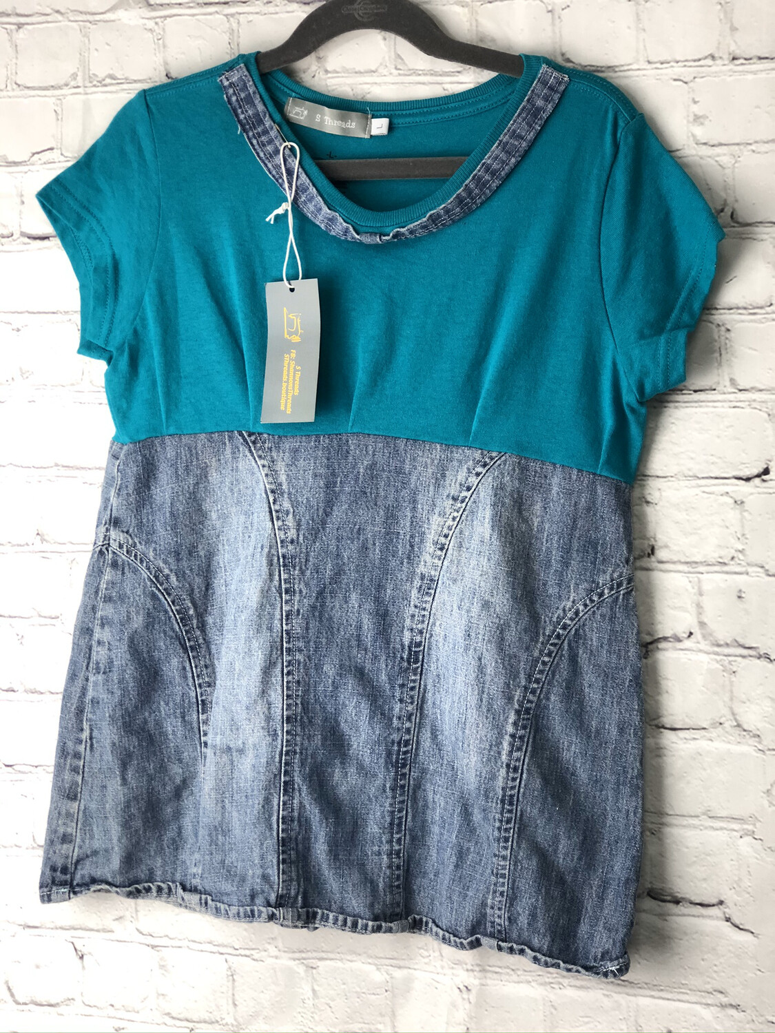 Child Teal Jean Upcycled Top