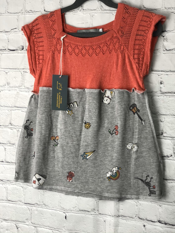 Child Red Sweater Top W Multi Print