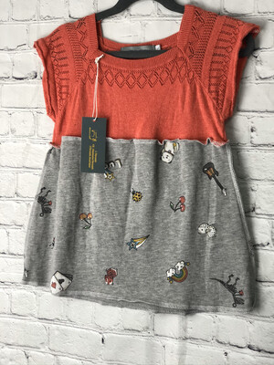 Child Red Sweater Top W Multi Print