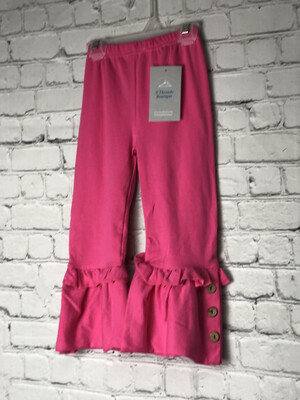 Kids Ruffle Pants With Buttons -Pink