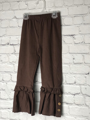 Kids Ruffle Pants With Buttons -Brown