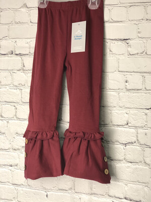 Kids Ruffle Pants With Buttons -Burgundy