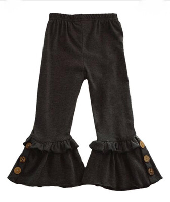 Kids Ruffle Pants With Buttons - Black