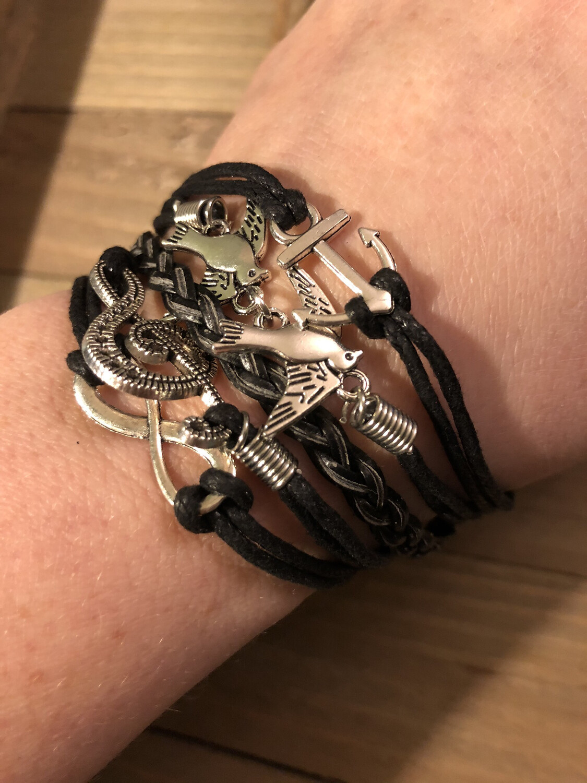 Multilayer Bracelet Black Musical