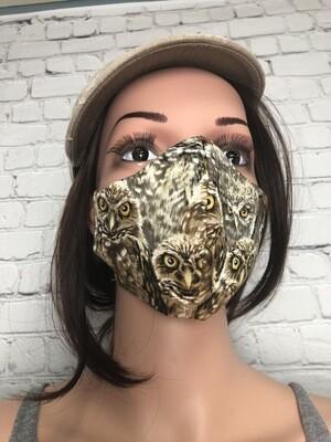 Owl Print Handmade Face Mask Women's Size