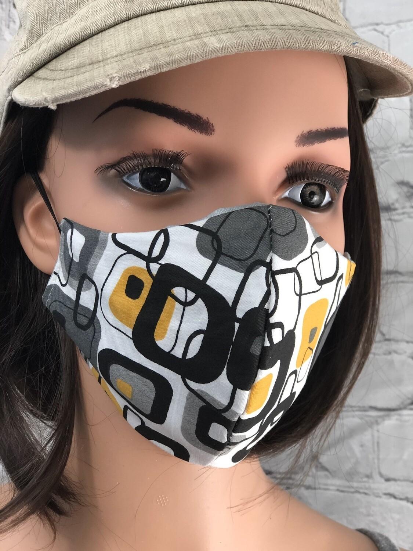 Gray Yellow Black Squares Print Handmade Face Mask