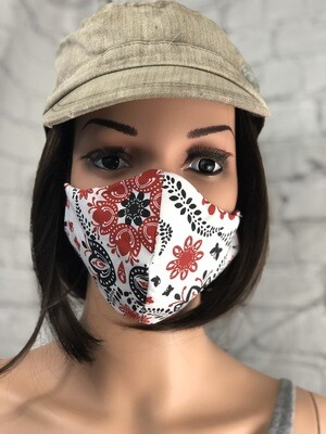 Red Black White Handkerchief Fabric Handmade Face Mask