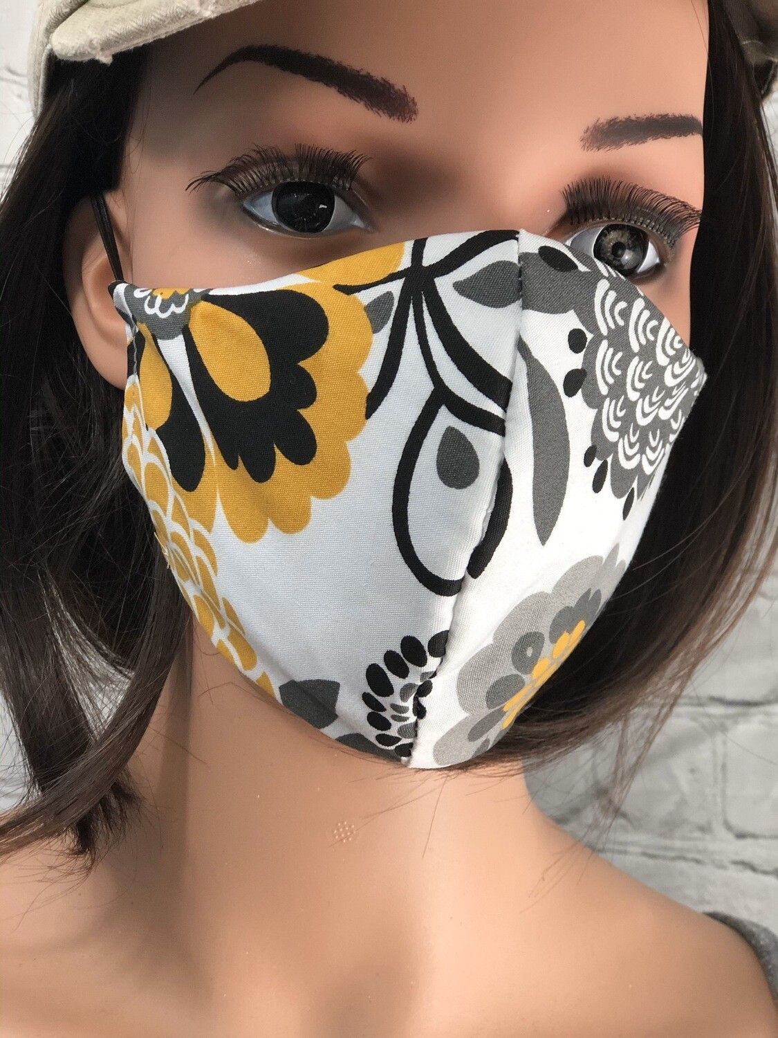 Yellow & Gray Floral Fabric Handmade Face Mask