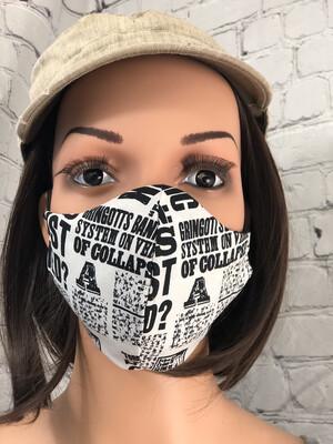 Newspaper Print Harry Potter Fabric Handmade Face Mask