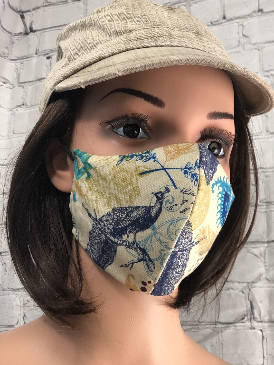Peacock Print Handmade Face Mask