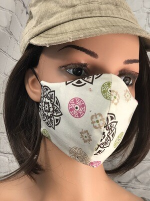 Brown Green Pink Print Handmade Face Mask