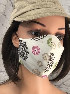 Brown Green Pink Print Handmade Face Mask