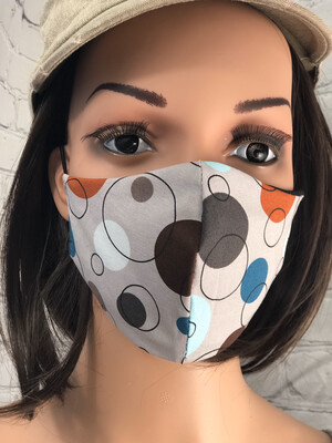 Gray Circles Print Handmade Face Mask