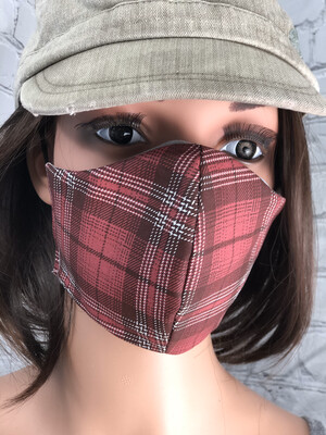 Burgundy Plaid Print Handmade Face Mask