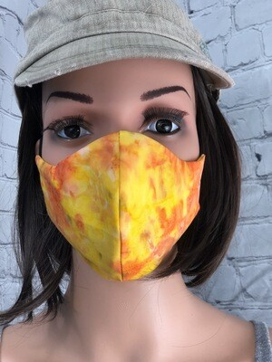 Yellow Tie Dye Print Handmade Face Mask