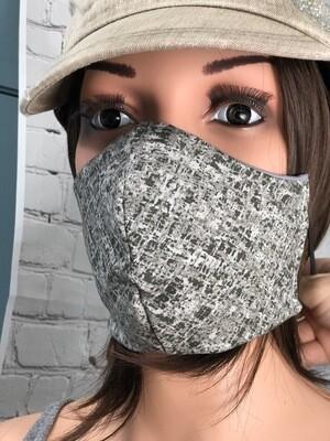 Gray Speckle Print Handmade Face Mask