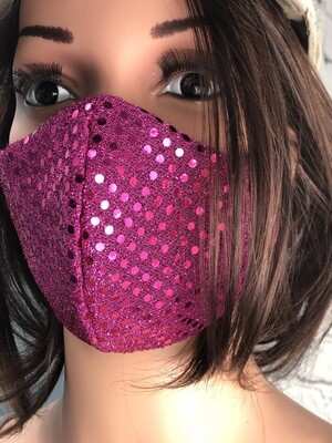 Glamour Collection Pink Sequin Handmade Face Mask