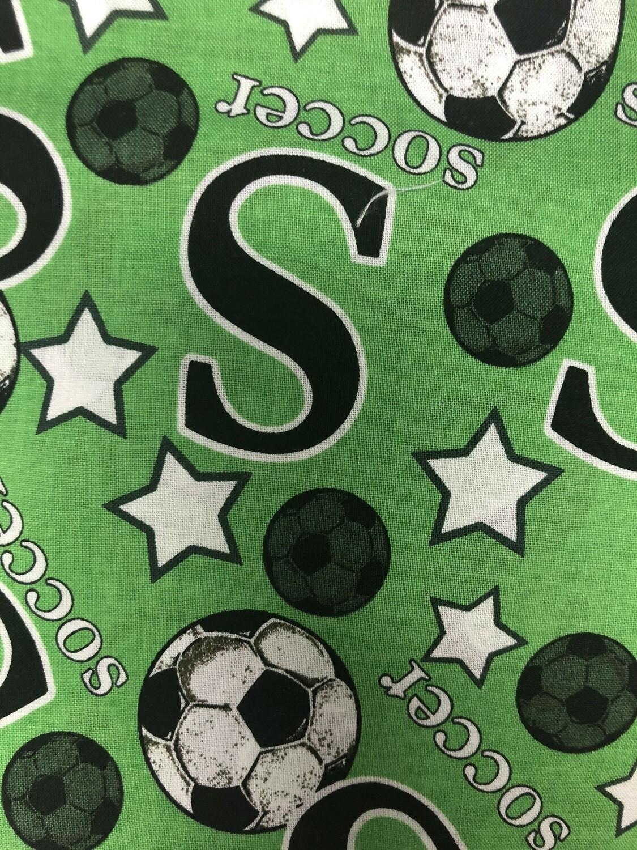 Green Soccer Fabric Handmade Face Mask