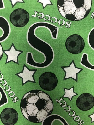 Green Soccer Fabric Handmade Face Mask