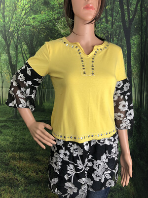 Yellow Bell Sleeve Upcycled Top