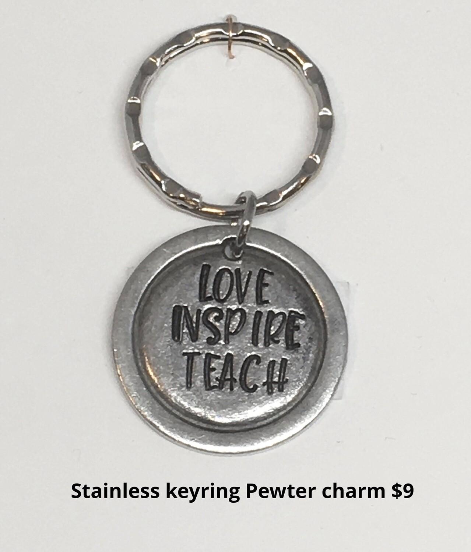 Stainless Keyring LOVE INSPIRE TEACH Handmade Stamped