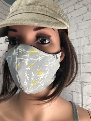 Gray And Yellow Birds Print Handmade Face Mask