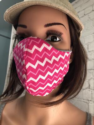 Pink Chevron Print Handmade Face Mask