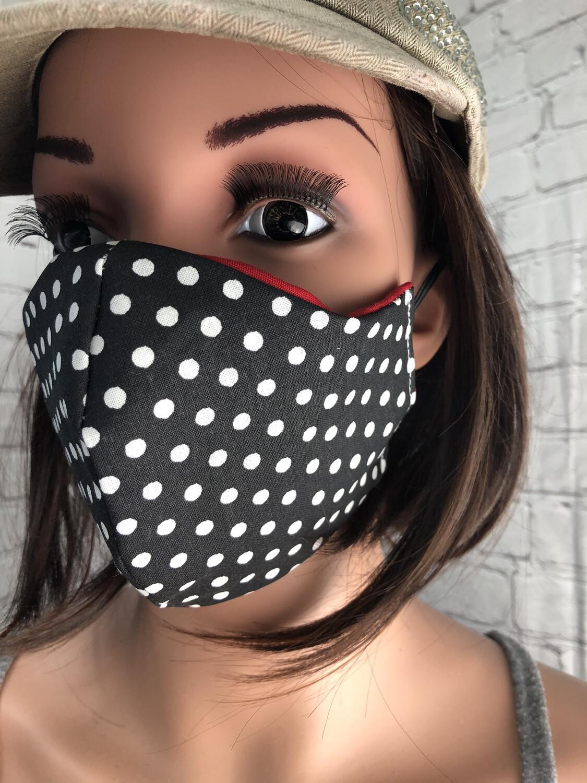 Black White Polka dot Fabric Handmade Face Mask