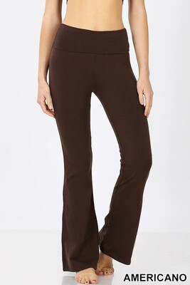 Pants Premium Cotton Fold Over Yoga Flare Americano