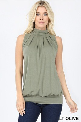 Top High Neck Olive Green