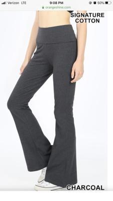 Cotton Flare Pant Charcoal Yoga