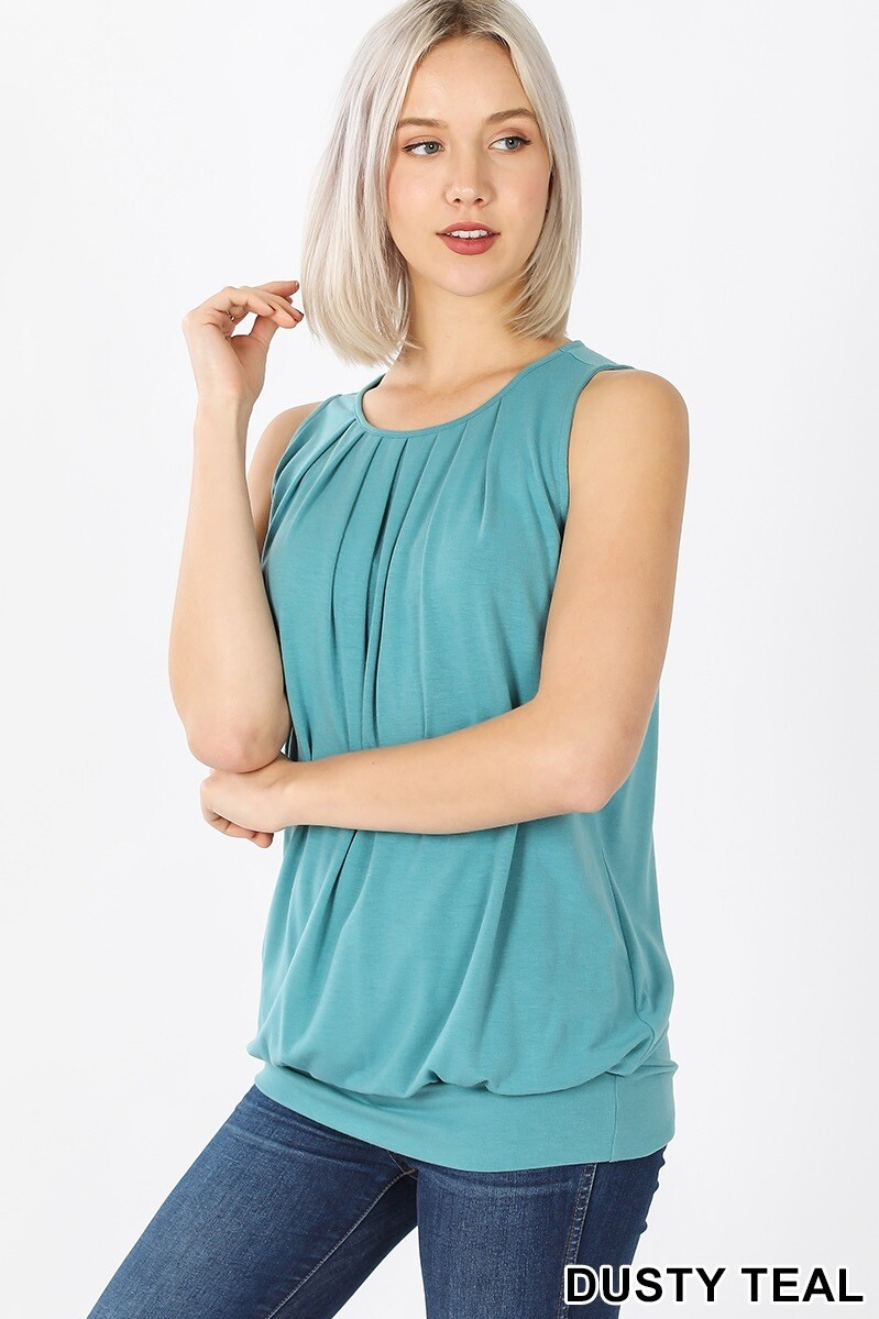 Top Sleeveless Round Neck Pleated With Waistband Teal