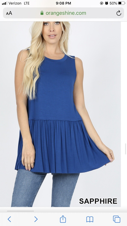 Top Sleeveless Ruffle Bottom Sapphire Blue