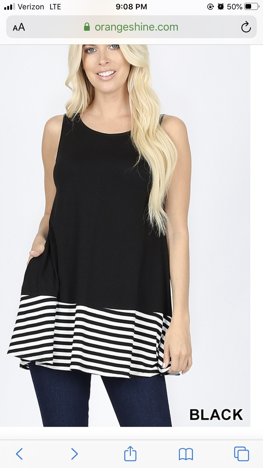 Top Sleeveless Striped And Solid Contrast Round Neck With Pockets