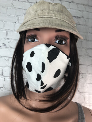 Cow Print Fabric Handmade Face Mask