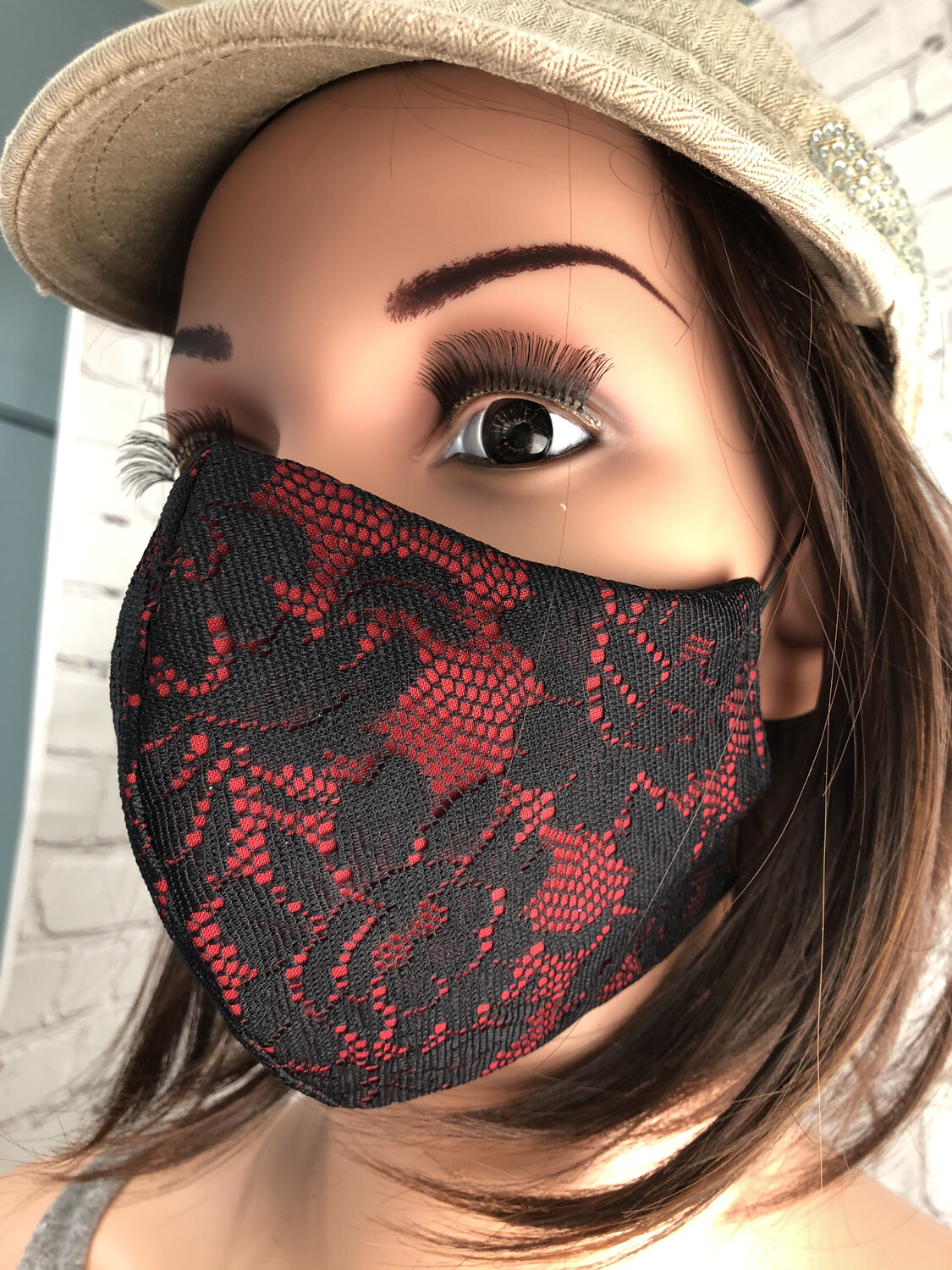 Glamour Collection Handmade Face Mask Red W Black Lace