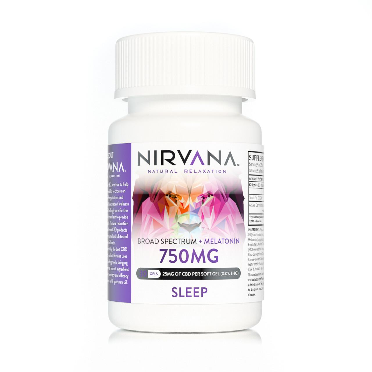 NIRVANA 750mg Broad Spectrum Sleep Gel Capsules - 30 CT (25mg per capsule w/ 1mg Melatonin)