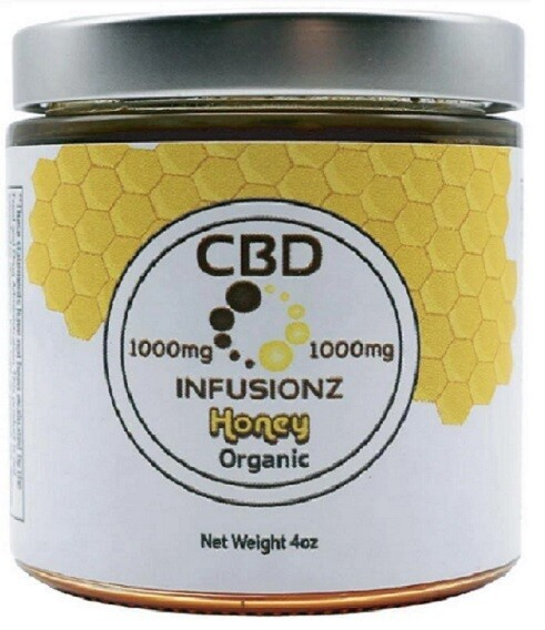 INFUSIONZ 1000mg Full Spectrum Natural Organic Honey - 4oz Jar