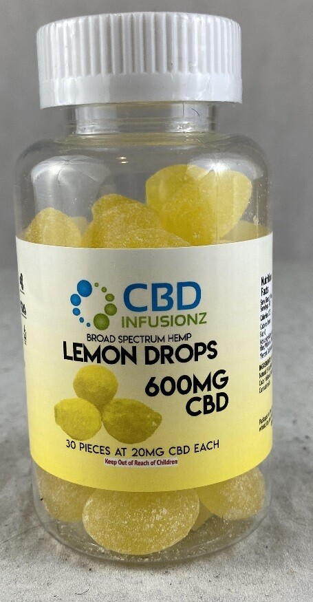 INFUSIONZ 600mg Broad Spectrum Hard Candy Lemon Drops - 30CT (20mg each)