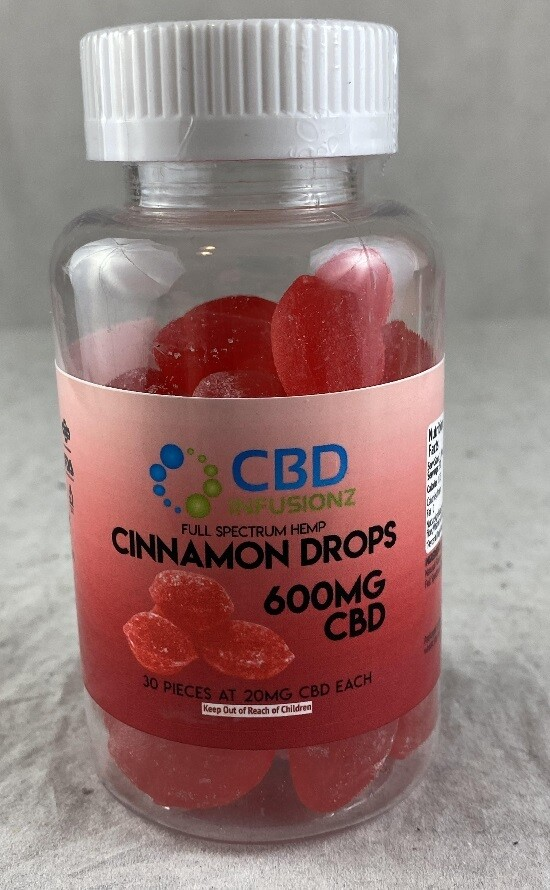 INFUSIONZ 600mg Full Spectrum Hard Candy Cinnamon Drops - 30CT (20mg each)
